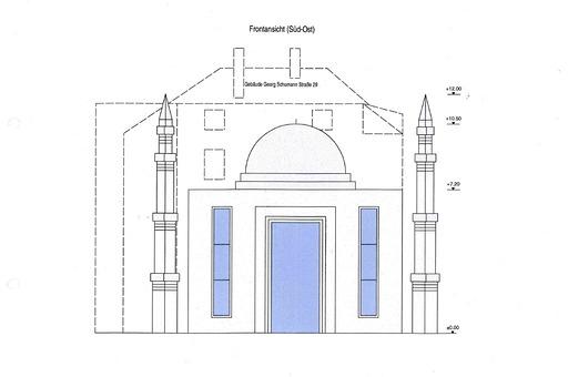 So soll die Moschee einmal ausehen. Bild: Ahmadiyya-Gemeinde