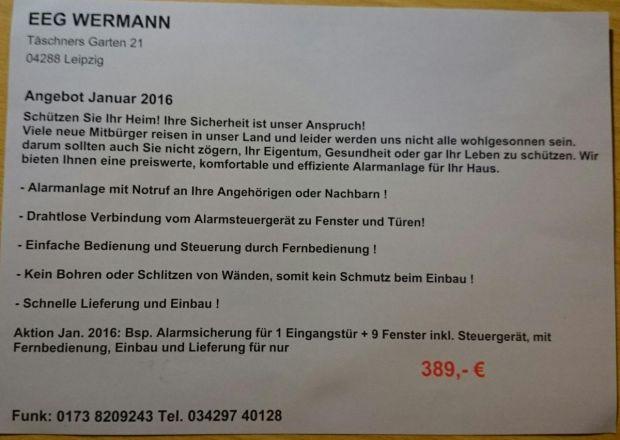 Der gerügte Flyer des Alarmanlagen-Anbieters EEG Wermann, Foto: Deutscher Werberat